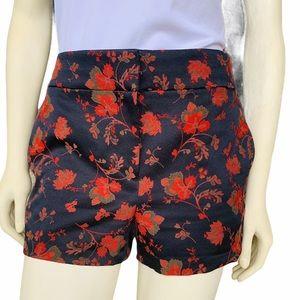 Loft Black Cherry Blossom Floral Jacquard Shorts